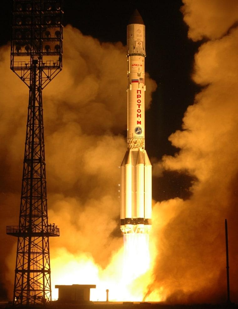 A Russian Proton-M rocket lofts Arabsat's Badr 4 satellite into space Wednesday.