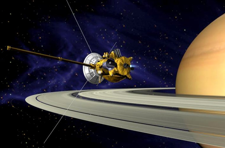 An artist'sview shows the Cassini orbiter passing by Saturn's rings.