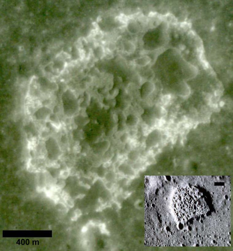 A close-up view of a lunar depression that researchers say indicates the release of small amounts of volcanic gas. The sharp details of features shown in the interior photo indicate recent formation of these gases.