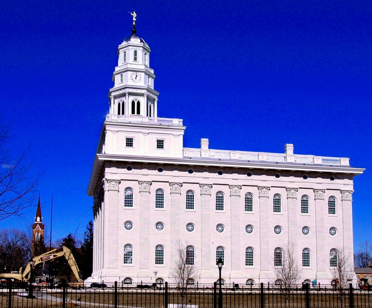 The 65,000-square-foot Nauvoo Temple is shown in this Feb. 27, 2002, file photo in Nauvoo, Ill.