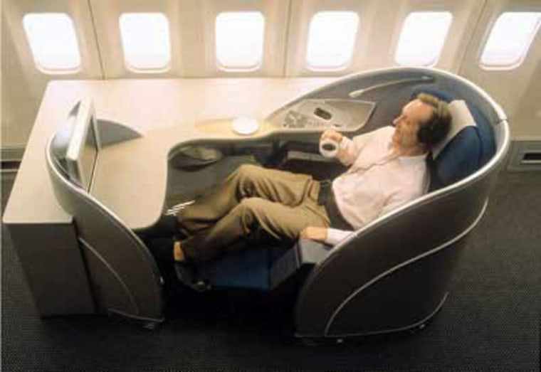 All Nippon Airways' first-class cabins feature wide, 33-inch seats that convert to beds — silk sheets, down duvets and sleep suits all provided. Each seat has its own 15-inch monitor with on-demand audio and video entertainment, and ANA's EUPHONY sound system filters out background noise like engine hum or passenger chatter.