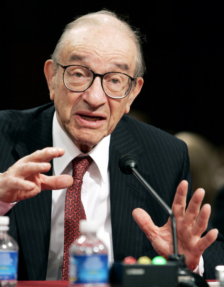 Former Federal Reserve Chairman Greenspan testifies about oil dependence and economic risk before US Senate Foreign Relations Committee on Capitol Hill