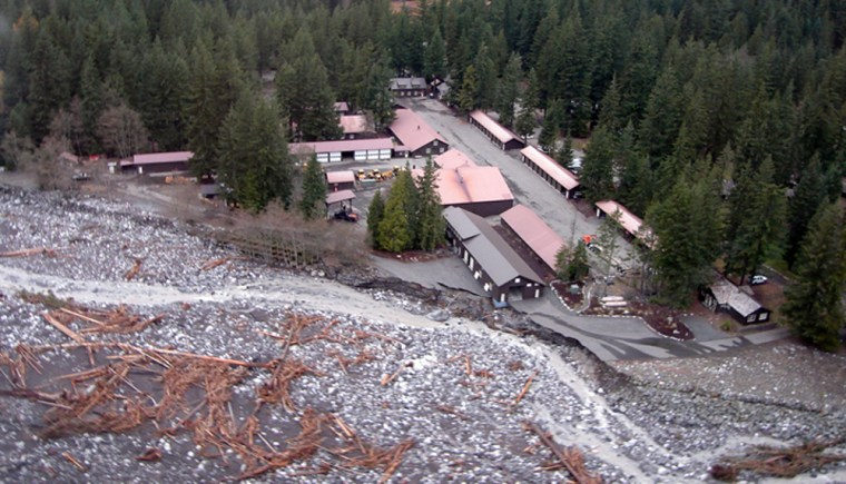 Thesebuildings at Mount Rainier National Park were almost wiped out by shifting ground and rising waters.