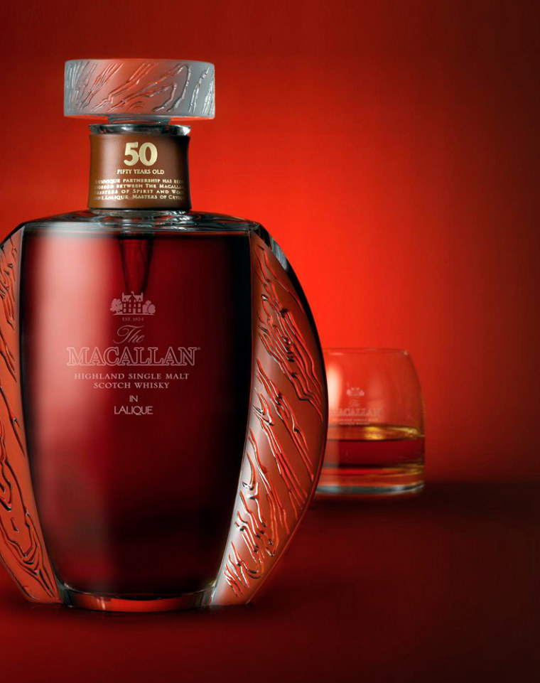 Macallan Fifty Year Old, in a Lalique Decanter, is unusual that most whiskies aren't packaged in crystal. But at $5,995 a bottle, it kind of makes sense.