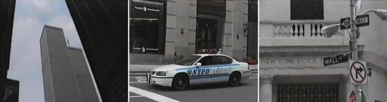 The World Trade Center, left, a police vehicle, center, and the New York Stock Exchange, are seen in a Metropolitan Police handout video issued Tuesday of footage shot by British al-Qaida terrorist Dhiren Barot during a trip to New York City in April 2001. Barot was convicted of plotting to bomb multiple sites in the U.K., and U.S. MI5 has said it is tracking around 30 other terror plots.