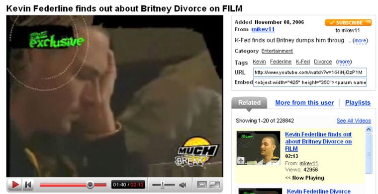 A video clip from Much News shows Kevin Federline studying a text message.