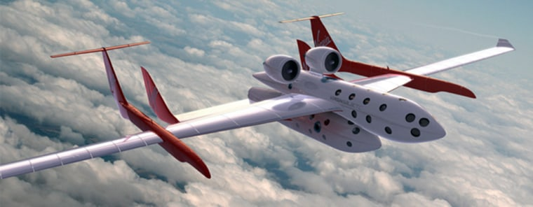 An artist's illustrationshows Virgin Galactic's SpaceShipTwo andits mothershipin flight.