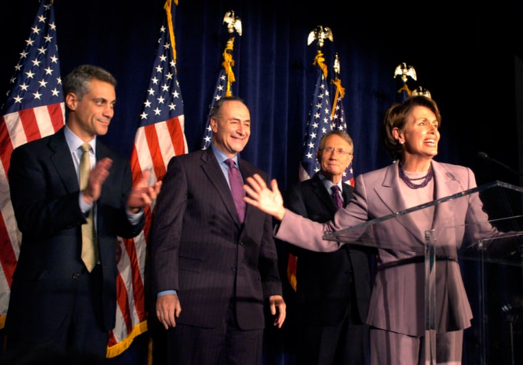 Presumptive Speaker of the HouseNancy Pelosi, right, introducesRep. Rahm Emmanuel, left, Sen. Charles Schumer, and Sen. Harry Reid to Democrtic Party supporters at an election-night party in Washington, D.C., on Nov. 8.