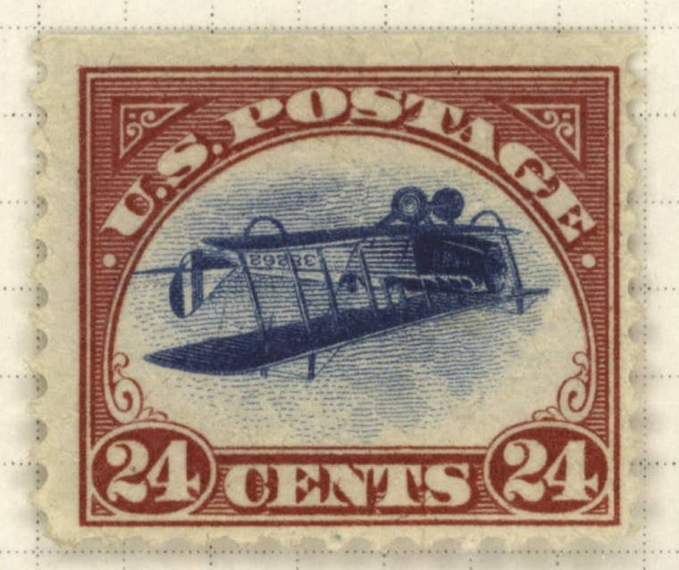 A sheet of 100Inverted Jenny stamps went through presses backward when they were printed in 1918, creating an upside-down airplane image.