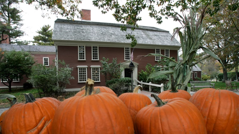Pumpkins decorate the front yard of Longfellow's Wayside Inn in Sudbury, Mass., Wednesday, Oct. 11th. Situated halfway between Boston and Worcester, the Wayside Inn claims to be America's oldest operating inn and is a National Historic Site.