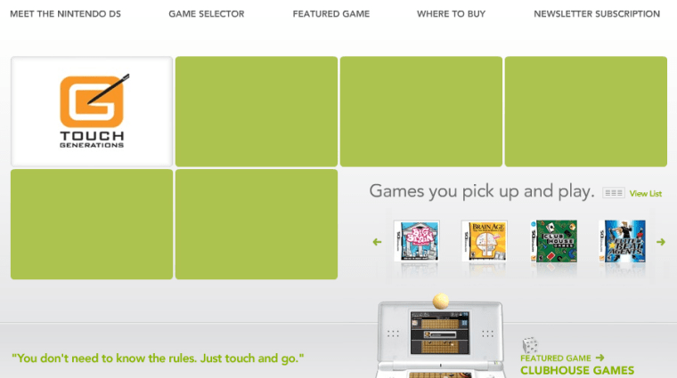 """Nintendo's Touch Generations site targets older gamers: """"Not a hard core gamer? That's OK."""""""