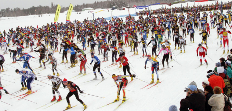 Hundreds of skiers leave the starting gate in Cable, Wis., for the 51-kilometer American Birkebeiner race in this file photo.