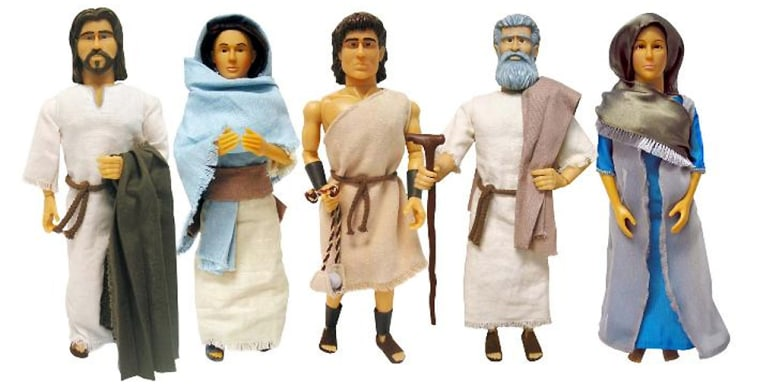 Button-activated Jesus dolls that recite Scripture, from the Beverly Hills Teddy Bear Co.'s Messenger of Faith line of products,were offered to the Marine Reserves' Toys for Tots program.