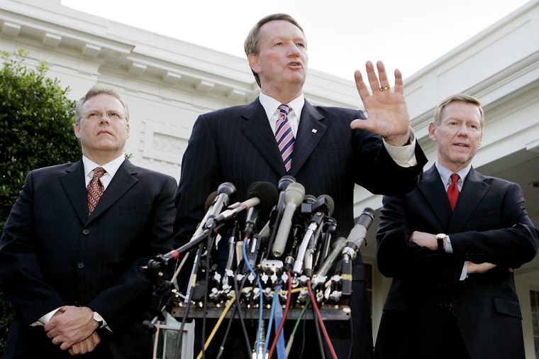 US auto makers executives speak with media after meeting President Bush in the Oval Office