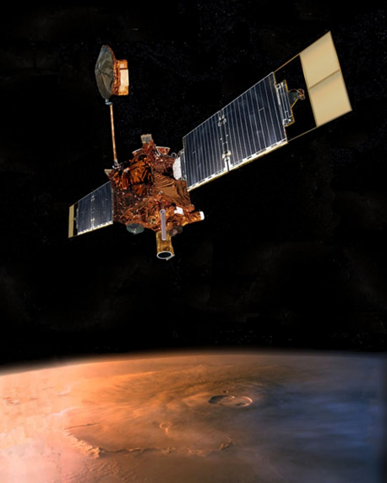 The venerable Mars Global Surveyor, shown in this artist's conception, failed to phone home — and NASA's efforts to recontact the probe have failed.