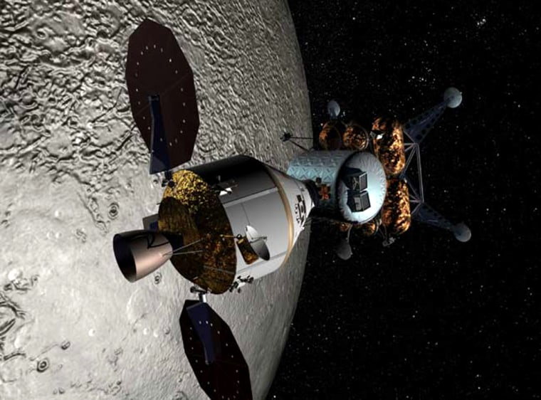 An artist's conception shows the Orion crew exploration vehicle linked up with a lunar lander.