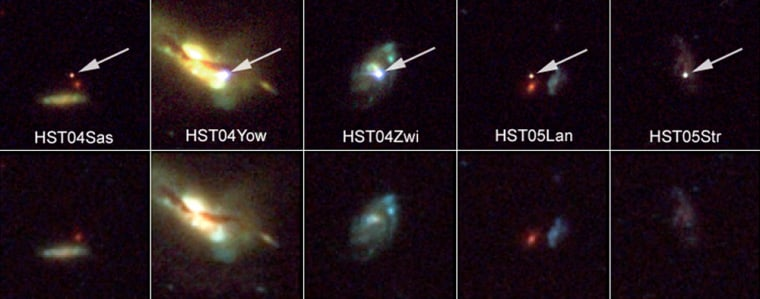 """These Hubblesnapshots reveal five supernovae, or exploding stars, and their host galaxies. The arrows in the top row of images point to the supernovae. The bottom row shows the host galaxies before or after the stars exploded. The supernovae exploded between 3.5 and 10 billion years ago. Such supernovae can be used as standard """"yardsticks"""" for measuring the expansion rate of the universe at different epochs."""