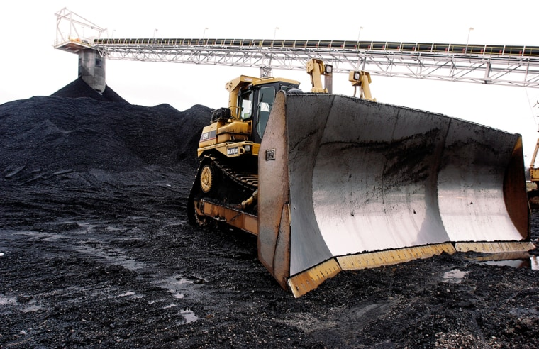 A bulldozer sits ready for work at Peabody Energy's Gateway Coal near Coulterville, Ill., in March.