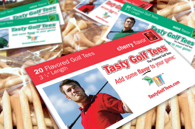 Tasty Golf Tees are designed to put some flavor on afairway near you.