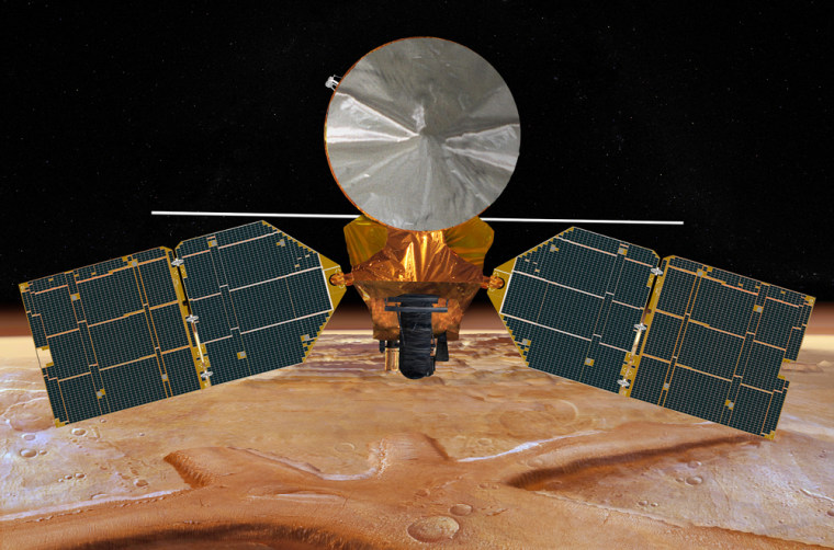 An artist's conception shows the Mars Reconnaissance Orbiter with its solar arrays spread wide. The orbiter was commanded to have its camera scan for any sign of the Mars Global Surveyor, a 10-year-old probe that has gone out of contact with Earth.