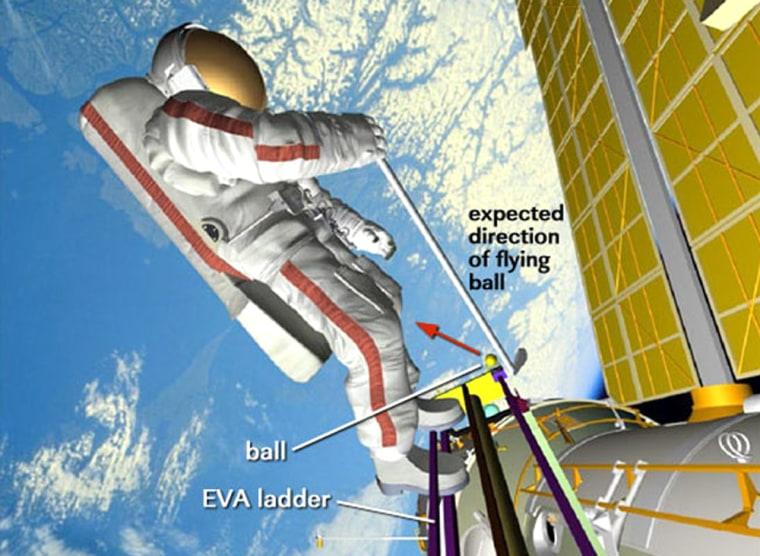 A NASA illustration shows how Russian cosmonaut Mikhail Tyurin will set up for a tee-off during Wednesday's spacewalk. Tyurin would use only one hand on the club because the spacesuit is too awkward to accommodate a two-handed grip.