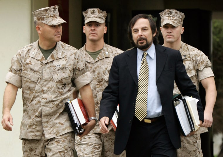 U.S. Marine Sgt. Hutchins III arrvives with his lawyers for his Article 32 Investigation hearing at Camp Pendleton