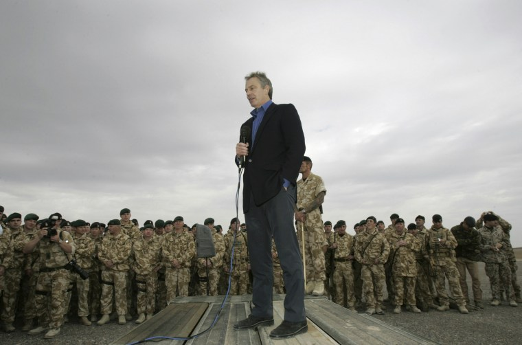 Blair addresses British soldiers at Camp Bastion in the Helmand region of Afghanistan
