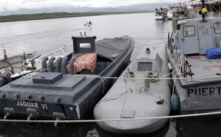 The homemade submarine is under guard in the Pacific port of Puntarenas, Costa Rica, on Monday.
