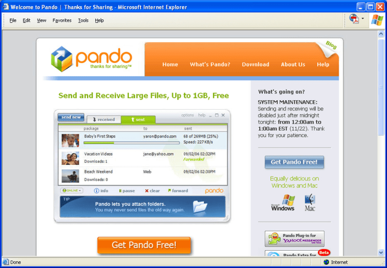 A screenshot shows Pando Networks' in action, sifting through messages with large files.