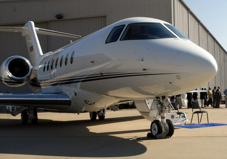 A Hawker 4000 jet airplane sits on the tarmac on Oct. 3, 2006, in Little Rock, Ark.