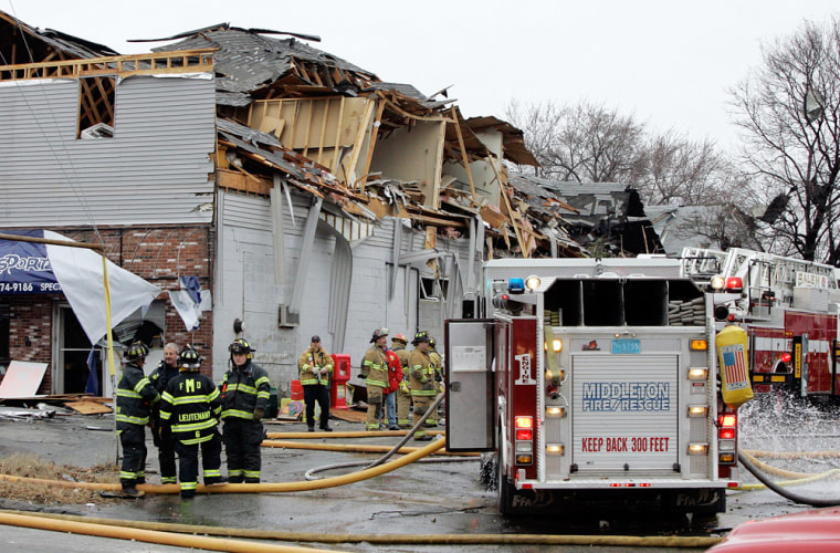 A chemical plant explosion damaged this bakery shop on Water Street in Danvers, Mass., on Wednesday.
