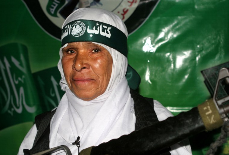Fatma Omar An-Najar, a Palestinian grandmother who blew herself up while trying to attack Israeli troops in Gaza,appears in a video testament released by the Palestinian militant group Hamas on Thursday.