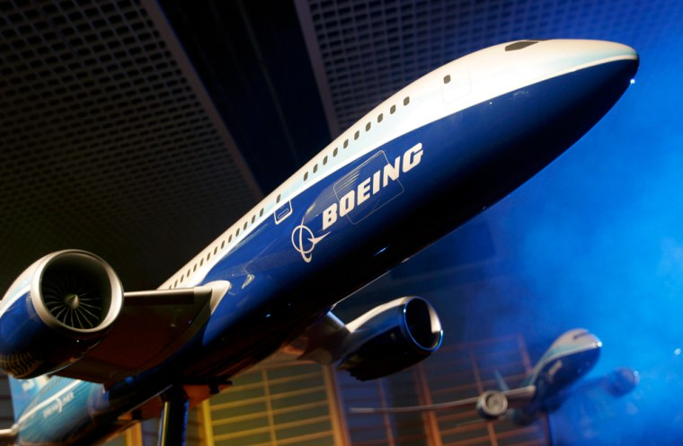 """A model of a Boeing 787 """"Dreamliner"""" is seen at a Boeing press conference in Paris, France, on April 27. The Dreamliner may be the first to offer next-generation amenities that improve the flying experience."""