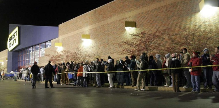 Shoppers hoping for 'Black Friday' bargains wait in line at Eastgate Best Buy store near Batavia, Ohio.