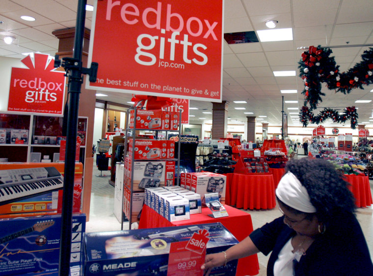 """J. C. Penny's stores are highlighting their line of """"redbox gifts"""" that range from from massaging slippers to iPod-wired jackets."""