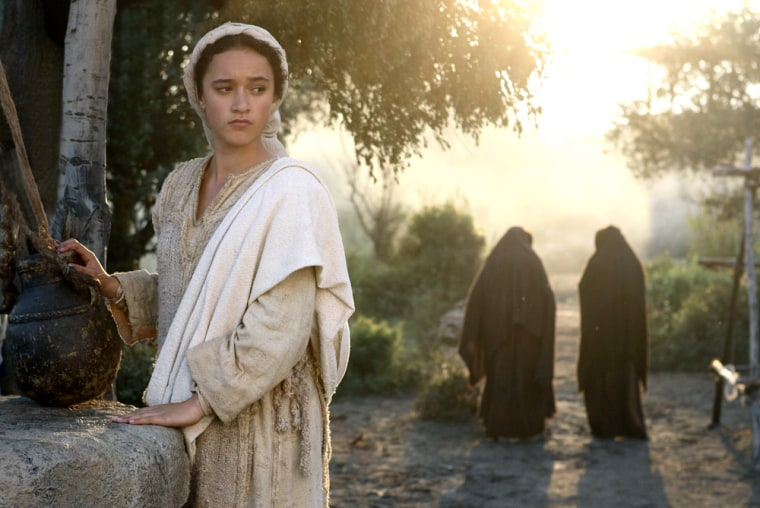 """This photo provided by New Line Cinema shows actress Keisha Castle-Hughes as Mary in a scene from """"The Nativity Story.""""  The movie is among holiday-themed films slated to open toward year's end. (AP Photo/New Line Cinema, Jaimie Trueblood)"""