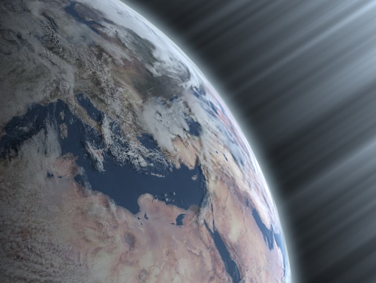 An artist's conception shows cosmic radiation entering Earth's atmosphere.