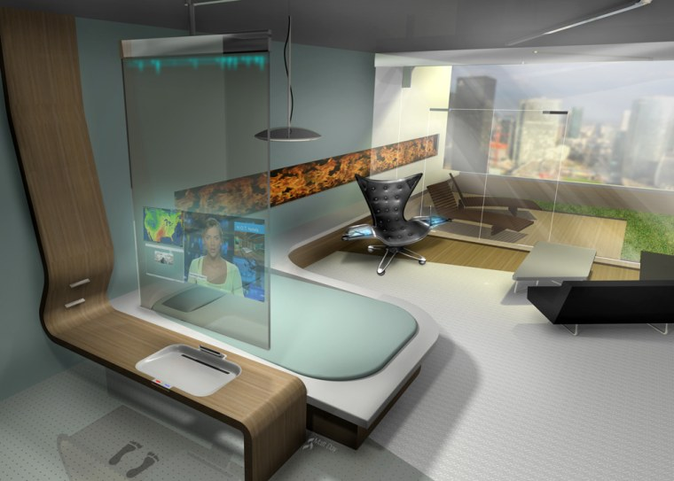 This conceptual image shows what a hotel room of the future might look like.
