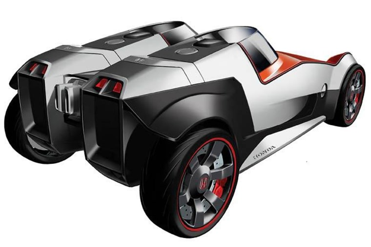 The sporty, two-passenger Honda Extreme has changeable body panels and a chassis that can be recycled after five years of use.