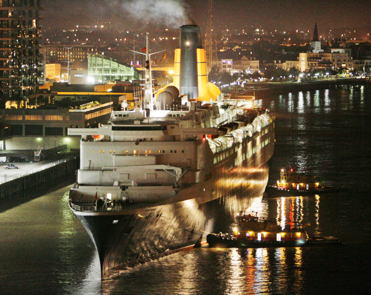 The Queen Elizabeth 2 sails on the Mississippi River as she prepares to dock at the Port of New Orleans Julia Street terminal on Monday.