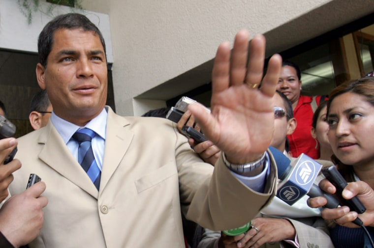 Rafael Correa, seen Tuesday in Quito, Ecuador, earned 57.2 percent of the runoff vote, with 95.35 percent of ballot boxes nationwide counted, according to election authority tallies.