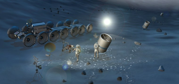 In this artist's conception, astronauts set up an array of telescopes on the moon.