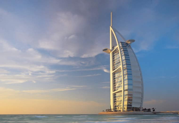 "The Burj is very much a giant sail; its exoskeleton is comprised of a woven, Teflon-coated fiberglass cloth. Not only is this the tallest hotel on Earth, but it's also ""the world's tallest structure with a membrane facade."""