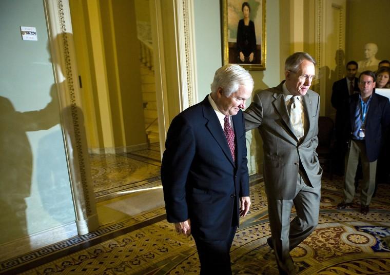 Robert Gates Meets With Senators On Capitol Hill