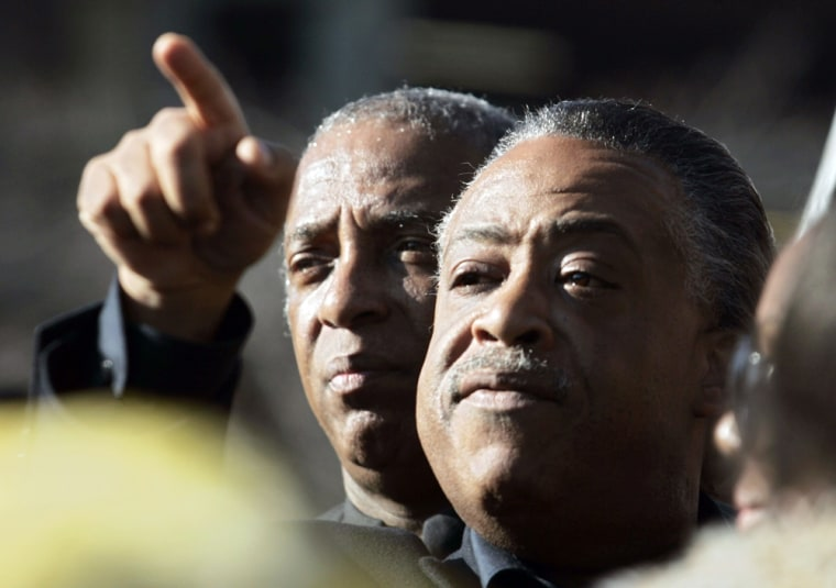Reverend Al Sharpton speaks about Sean Bell at a rally to support Bell in New York