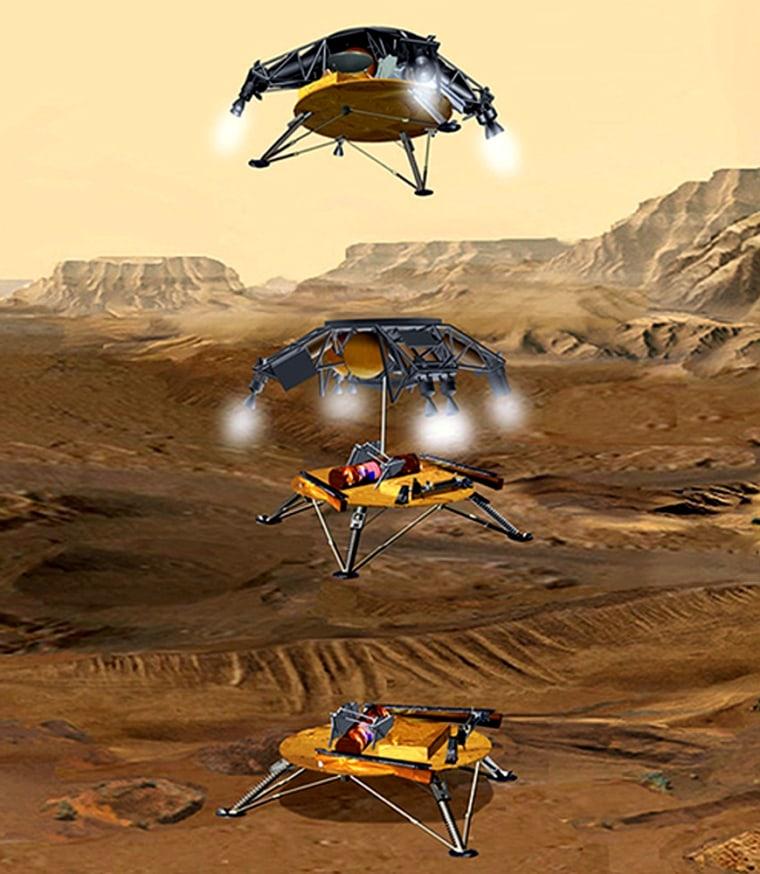 Sky Crane illustrated lowering Mars Sample Return spacecraft.