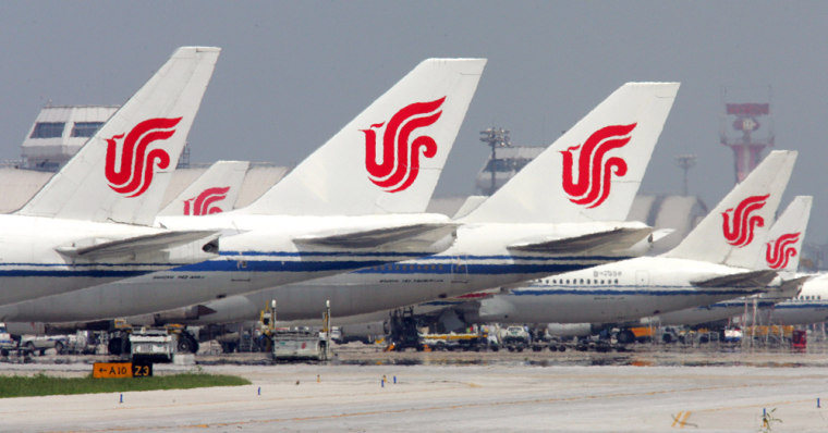 Jetsare seen parkedat Beijing airport earlier this year.OneChinese airline has decided bathroom breaks are no longer air-worthy.