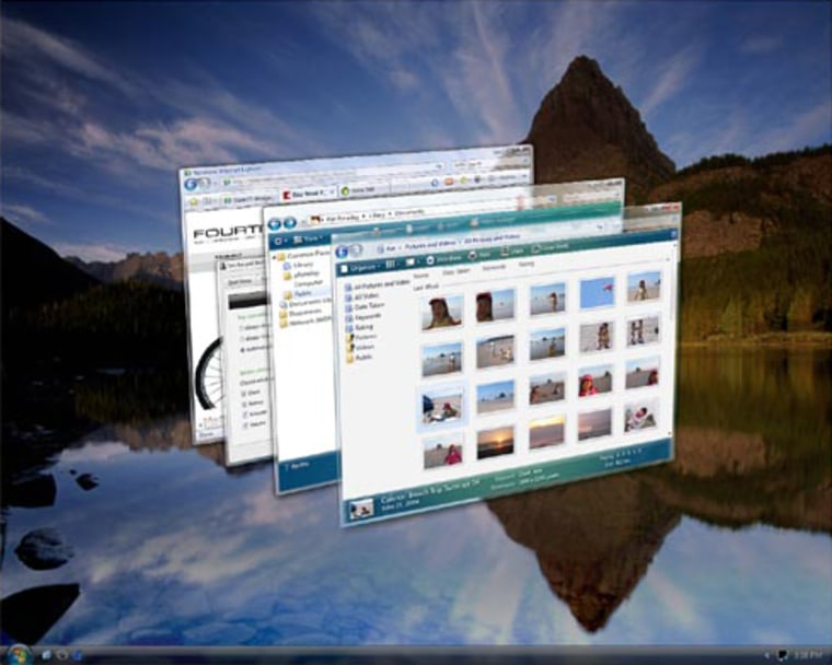 Vista's flashiest new feature — 3D Flip — lets you quickly search open windows and programs.