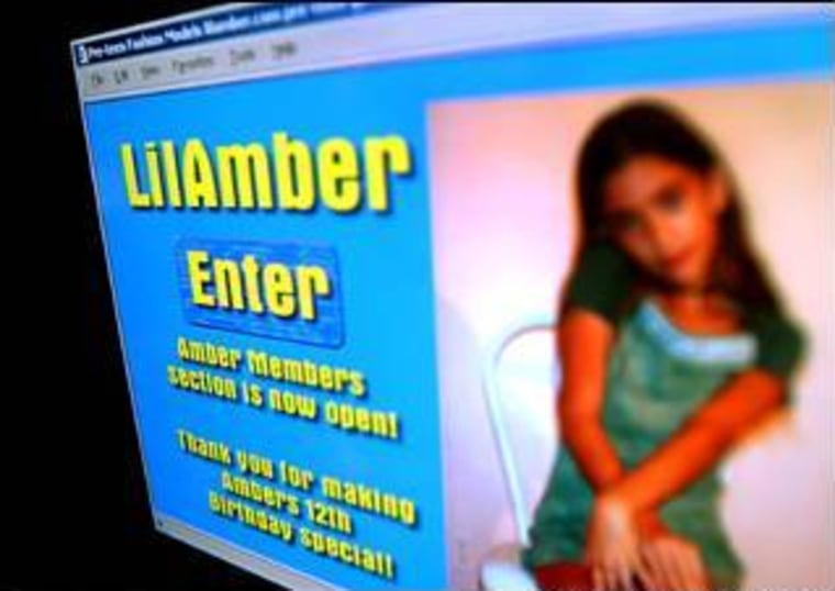 """One of the earliestWebe Web """"modeling"""" sites featured a very young girl known as """"Lil Amber."""""""
