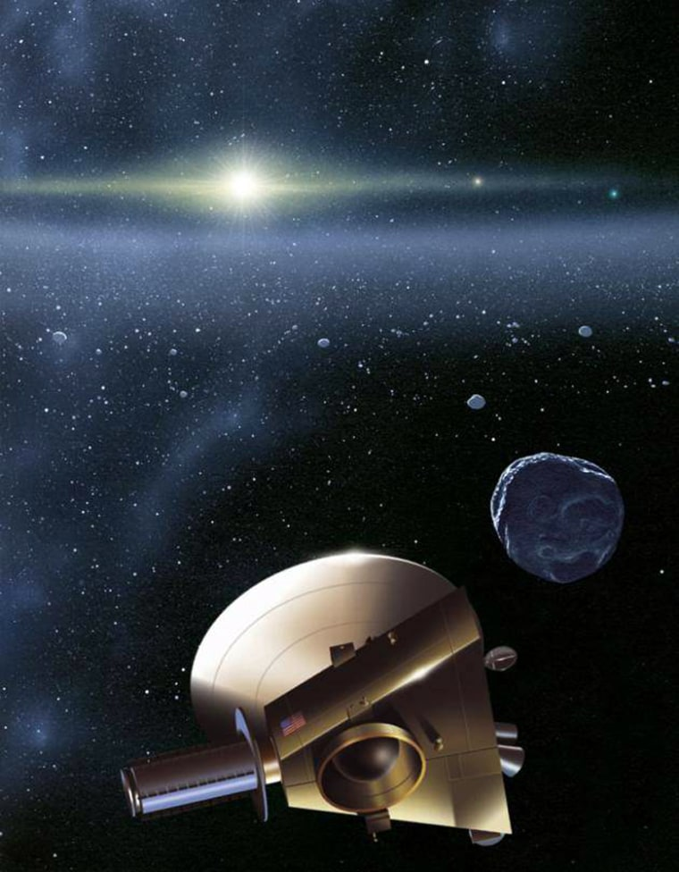 Artist's impression of the New Horizons spacecraft meeting up with a Kuiper Belt object. The Sun is more than 4.1 billion miles (6.7 billion kilometers) away. Jupiter and Neptune are visible as orange and blue stars to the right of the Sun.